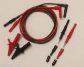 2 Wire Multimeter Test Lead Set, Unfused, 2M long. British Made. Probes & Clips.